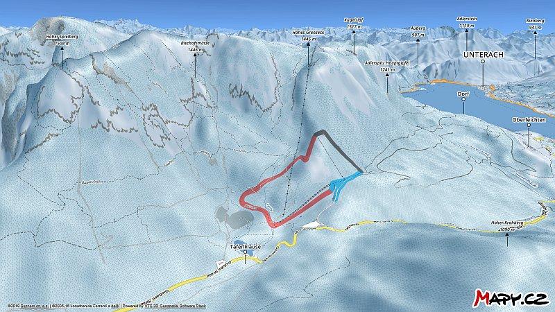 3D zimní mapa lyžařské oblasti Hochlecken