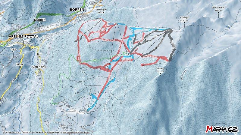 3D zimní mapa lyžařské oblasti Hochzeiger
