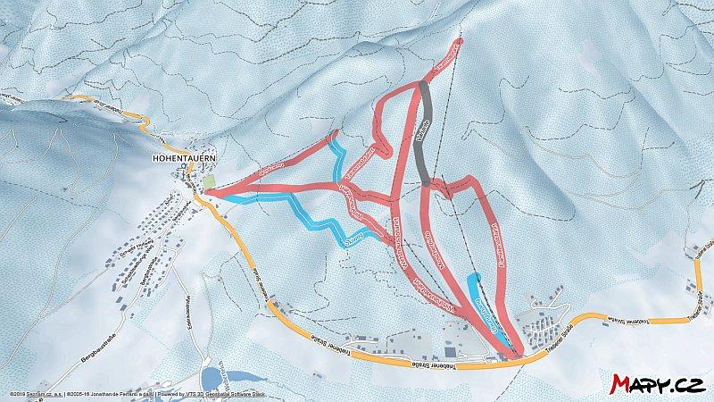 3D zimní mapa lyžařské oblasti Hohentauern