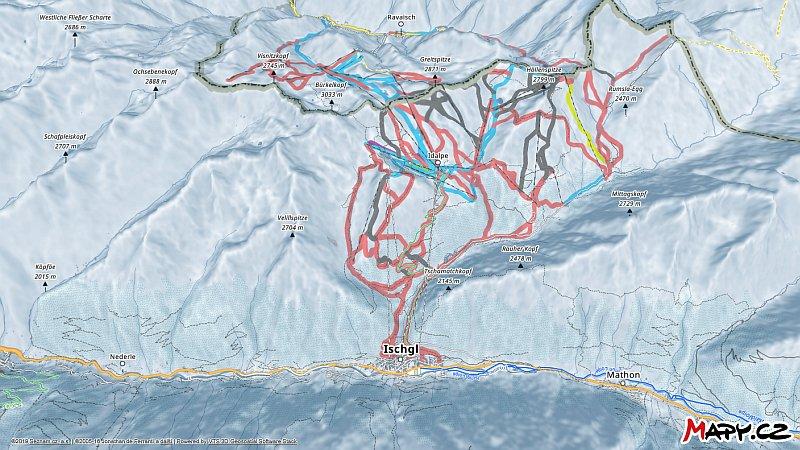 3D zimní mapa lyžařské oblasti Ischgl