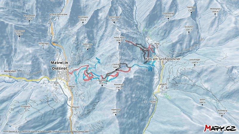 3D zimní mapa lyžařské oblasti Großglockner Resort Kals-Matrei