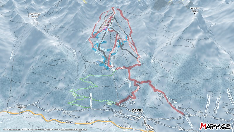 3D zimní mapa lyžařské oblasti Kappl