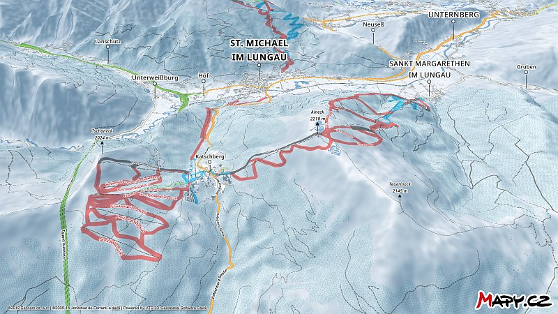 3D zimní mapa lyžařské oblasti Katschberg - Aineck
