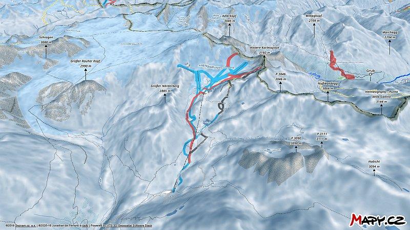 3D zimní mapa lyžařské oblasti Kaunertaler Gletscher