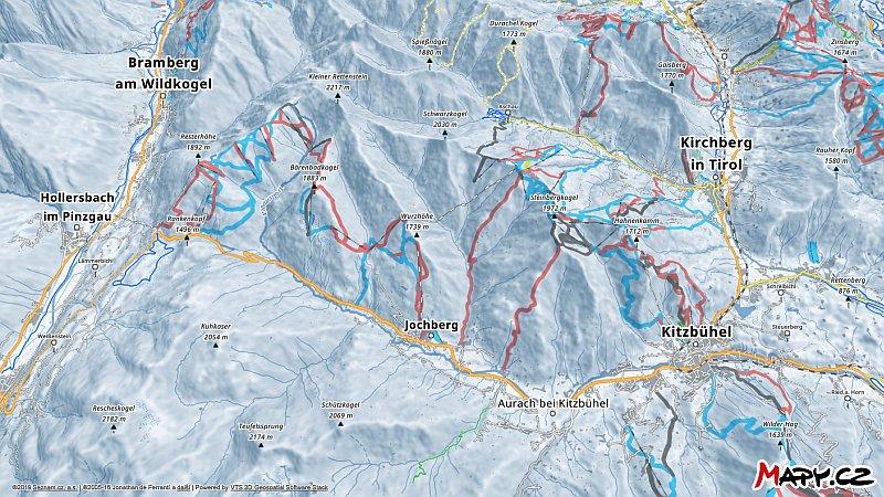 3D zimní mapa lyžařské oblasti Kitzbühel - Kirchberg
