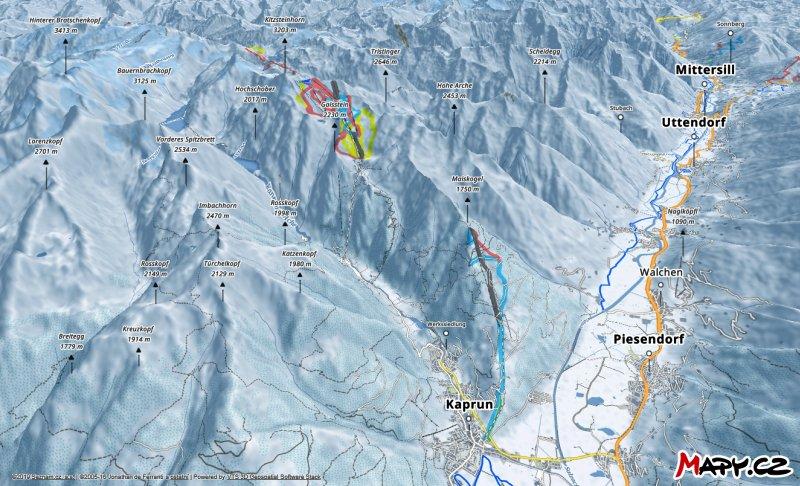 3D zimní mapa lyžařské oblasti Kaprun - Kitzsteinhorn