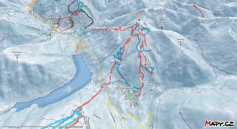 3D zimní mapa lyžařské oblasti Königsleiten (Zillertal Arena)