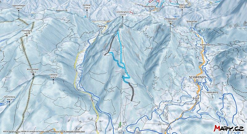 3D zimní mapa lyžařské oblasti Kössen
