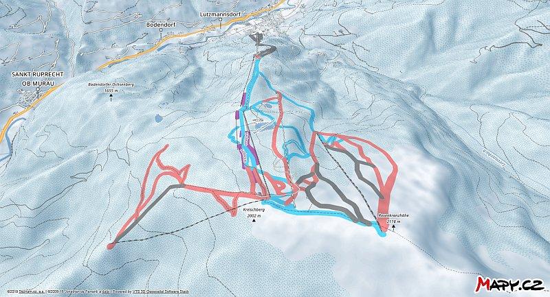 3D zimní mapa lyžařské oblasti Kreischberg - Murau