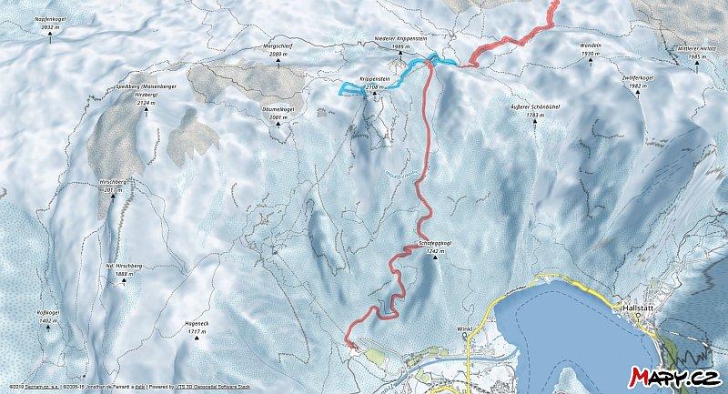 3D zimní mapa lyžařské oblasti Krippenstein