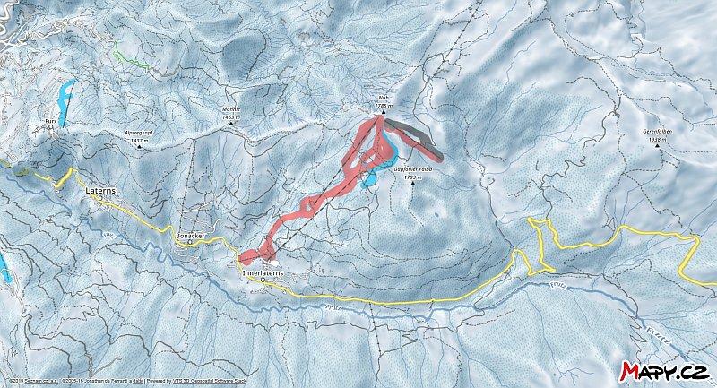 3D zimní mapa lyžařské oblasti Laterns - Gapfohl