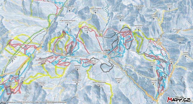 3D zimní mapa lyžařské oblasti Lech - Zürs am Arlberg