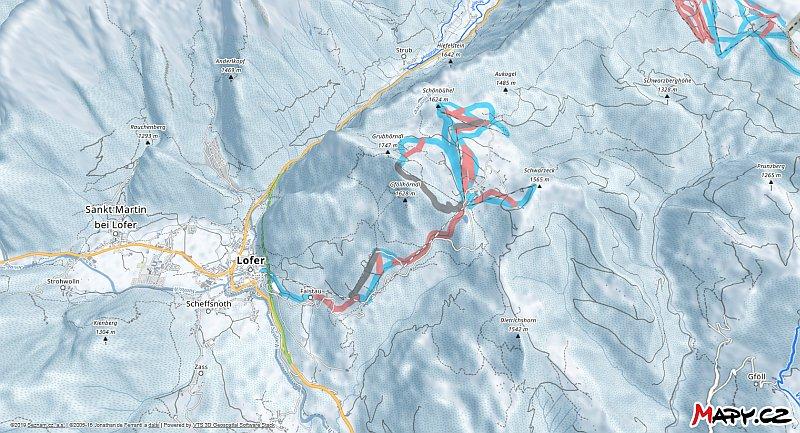 3D zimní mapa lyžařské oblasti Lofer