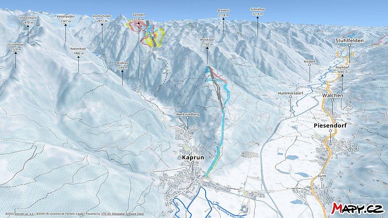 3D zimní mapa lyžařské oblasti Kaprun - Maiskogel