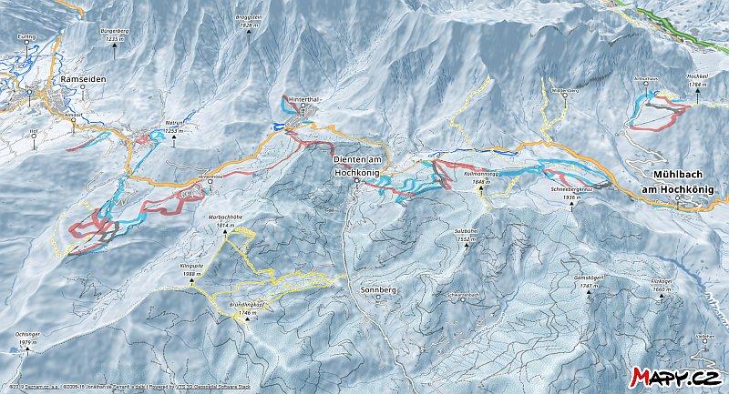 3D zimní mapa lyžařské oblasti Maria Alm - Hochkönig