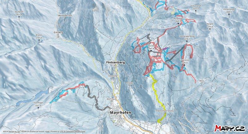 3D zimní mapa lyžařské oblasti Mayrhofen