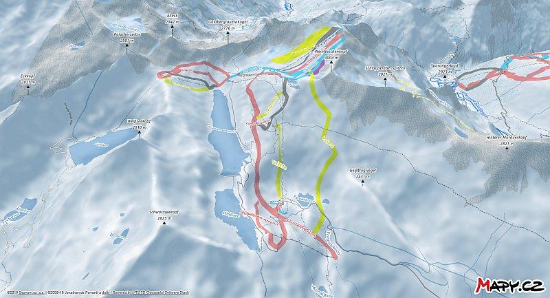 3D zimní mapa lyžařské oblasti Mölltaler Gletscher
