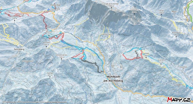 3D zimní mapa lyžařské oblasti Mühlbach - Hochkönig