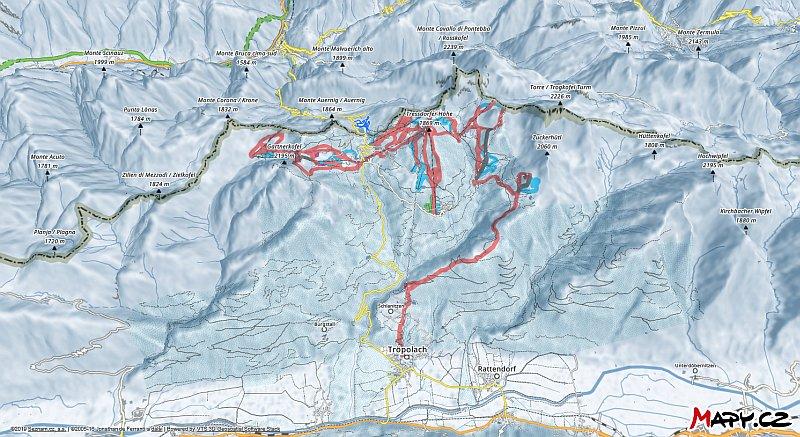 3D zimní mapa lyžařské oblasti Nassfeld - Hermagor