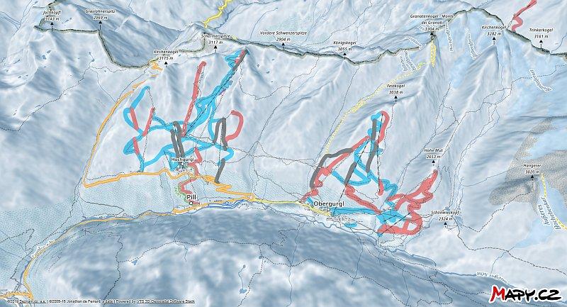 3D zimní mapa lyžařské oblasti Obergurgl - Hochgurgl