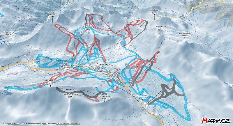 3D zimní mapa lyžařské oblasti Obertauern