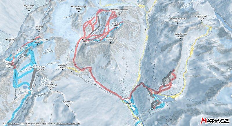 3D zimní mapa lyžařské oblasti Pitztaler Gletscher a Rifflsee