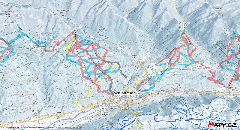 3D zimní mapa lyžařské oblasti Planai & Hochwurzen