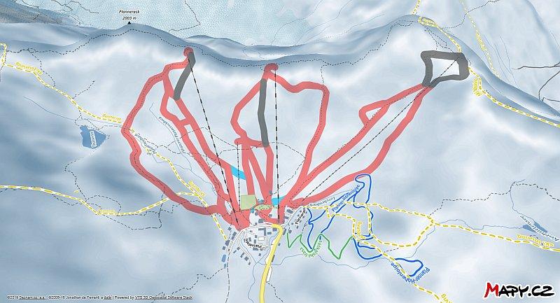 3D zimní mapa lyžařské oblasti Planneralm