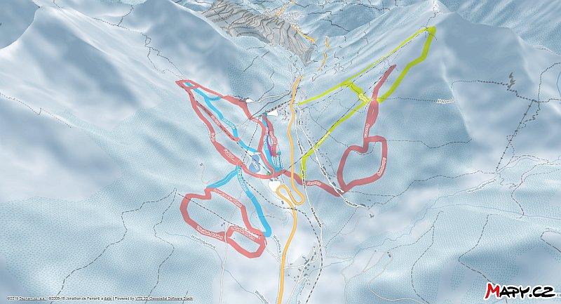 3D zimní mapa lyžařské oblasti Präbichl