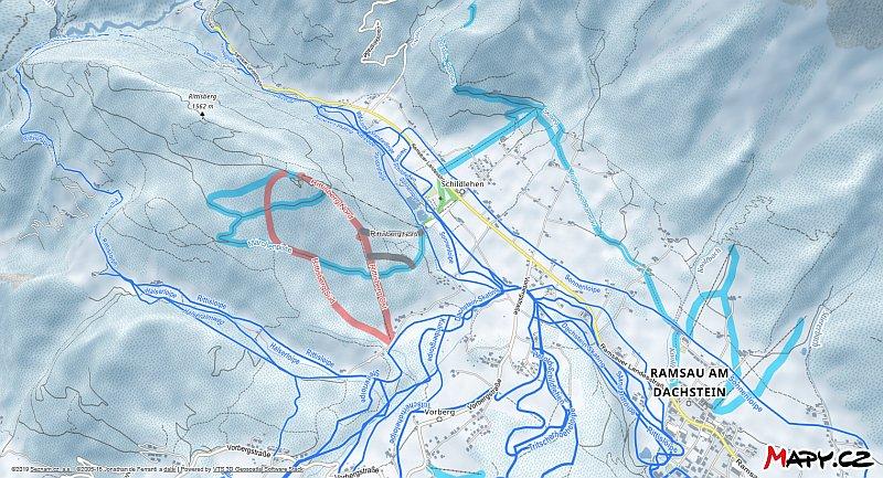 3D zimní mapa lyžařské oblasti Ramsau - Dachstein
