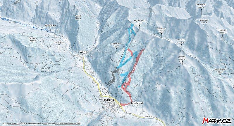 3D zimní mapa lyžařské oblasti Rauris