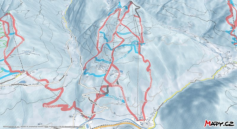3D zimní mapa lyžařské oblasti Reiteralm
