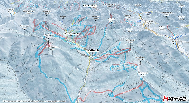 3D zimní mapa lyžařské oblasti Saalbach - Hinterglemm - Leogang