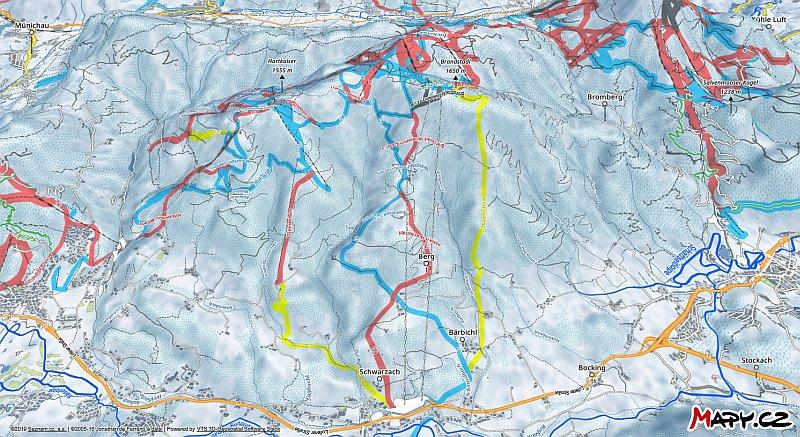 3D zimní mapa lyžařské oblasti Scheffau