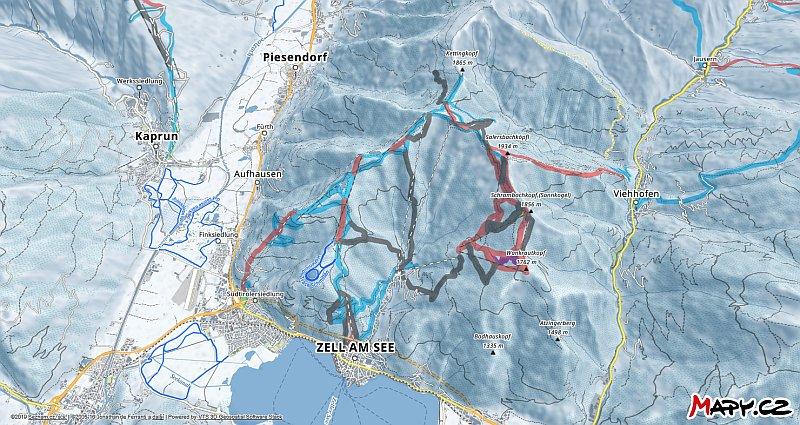 3D zimní mapa lyžařské oblasti Zell am See - Schmittenhöhe
