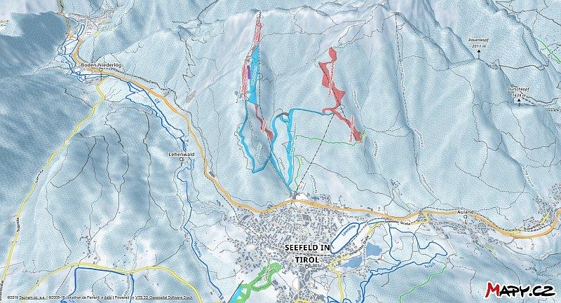 3D zimní mapa lyžařské oblasti Seefeld - Rosshütte