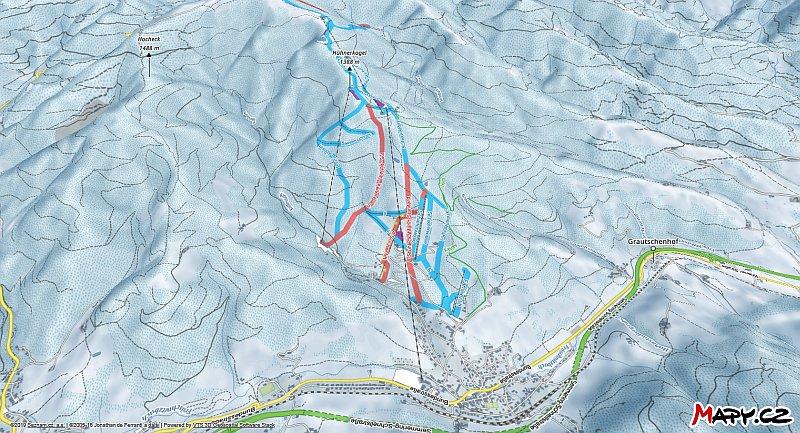 3D zimní mapa lyžařské oblasti Semmering - Stuhleck