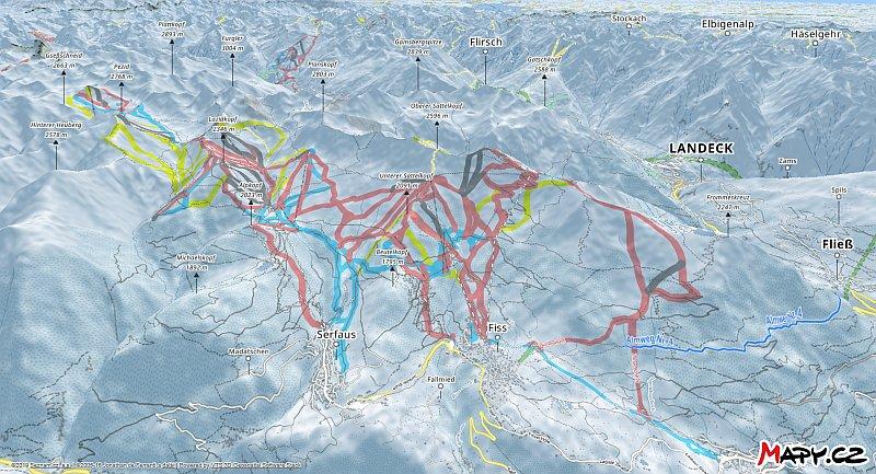 3D zimní mapa lyžařské oblasti Serfaus - Fiss - Ladis