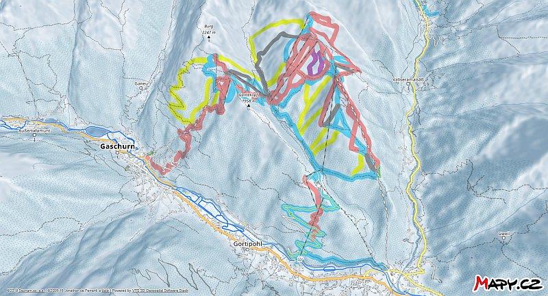 3D zimní mapa lyžařské oblasti Silvretta Montafon