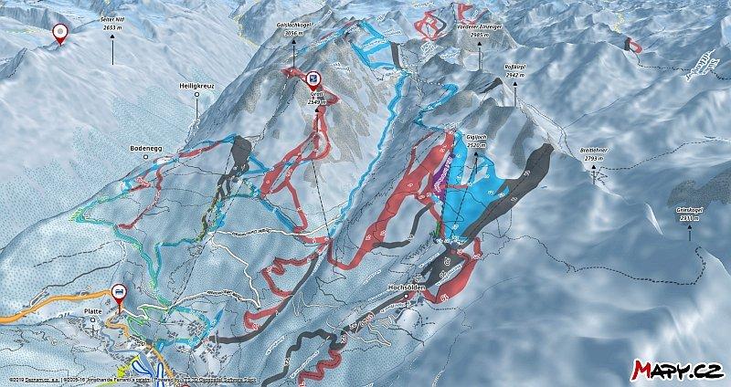 3D zimní mapa lyžařské oblasti Sölden