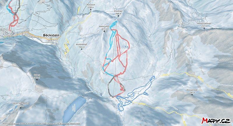 3D zimní mapa lyžařské oblasti Sportgastein