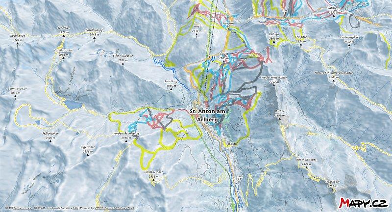 3D zimní mapa lyžařské oblasti St. Anton am Arlberg