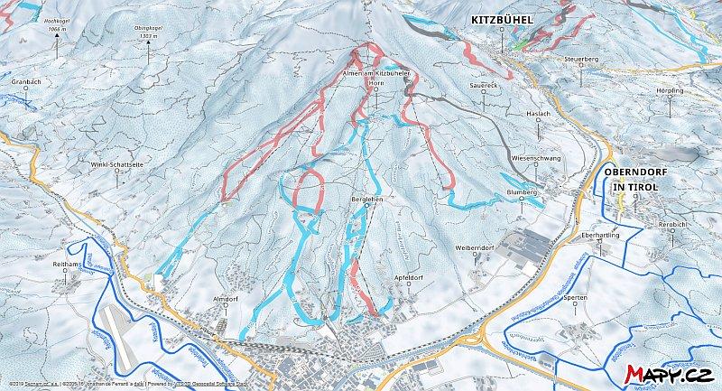 3D zimní mapa lyžařské oblasti St. Johann in Tirol