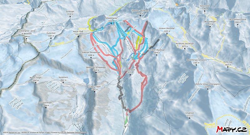 3D zimní mapa lyžařské oblasti Stubaier Gletscher