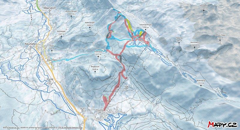3D zimní mapa lyžařské oblasti Tauplitz - Bad Mitterndorf