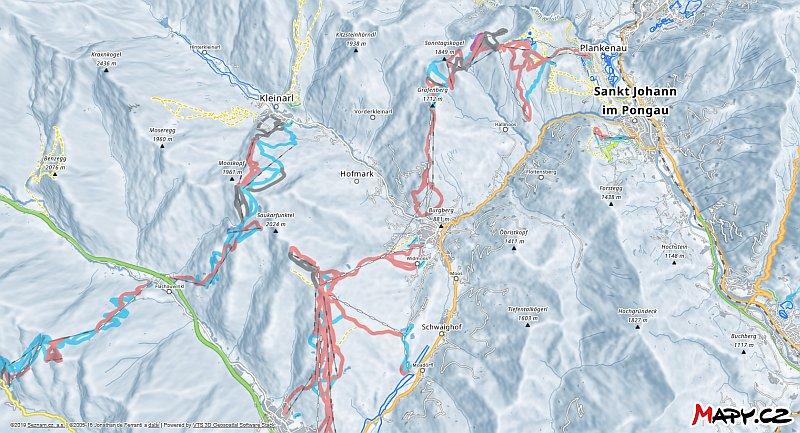3D zimní mapa lyžařské oblasti Wagrain