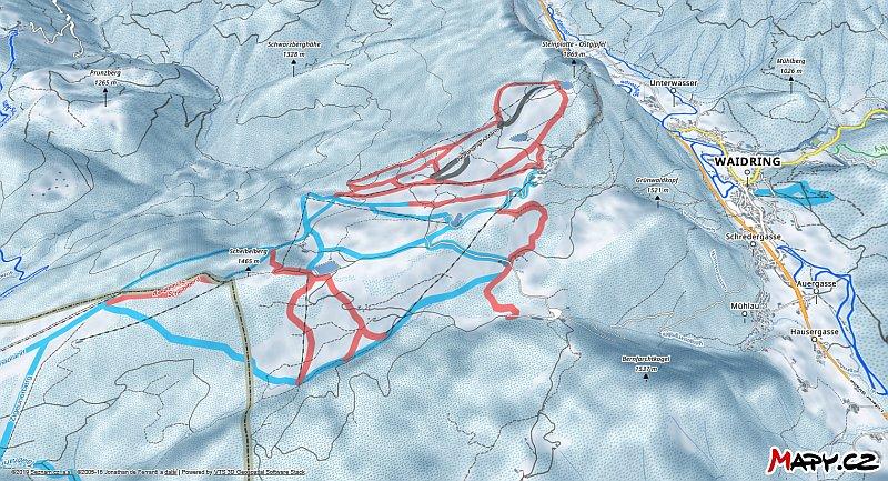 3D zimní mapa lyžařské oblasti Waidring - Steinplatte