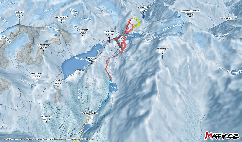 3D zimní mapa lyžařské oblasti Weißsee Gletscherwelt