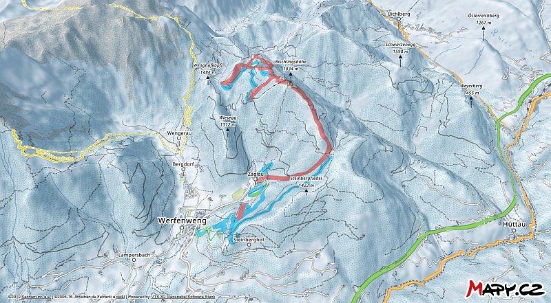 3D zimní mapa lyžařské oblasti Werfenweng