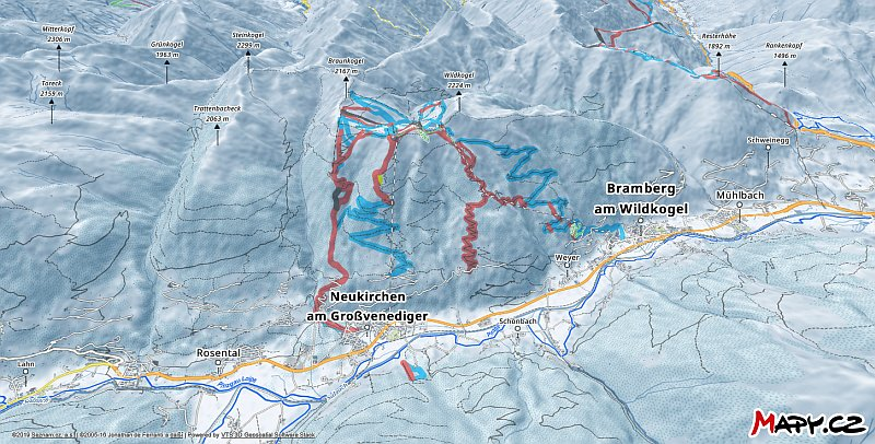 3D zimní mapa lyžařské oblasti Wildkogel